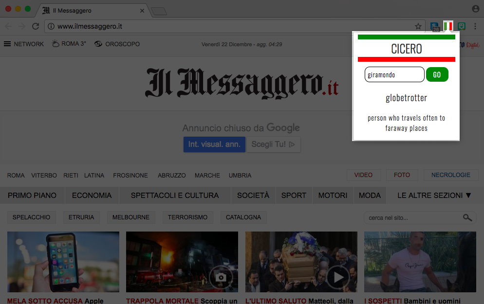 Italian-to-English dictionary Google Chrome extension